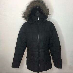Columbia Black Fur Trimmed Puffer Jacket